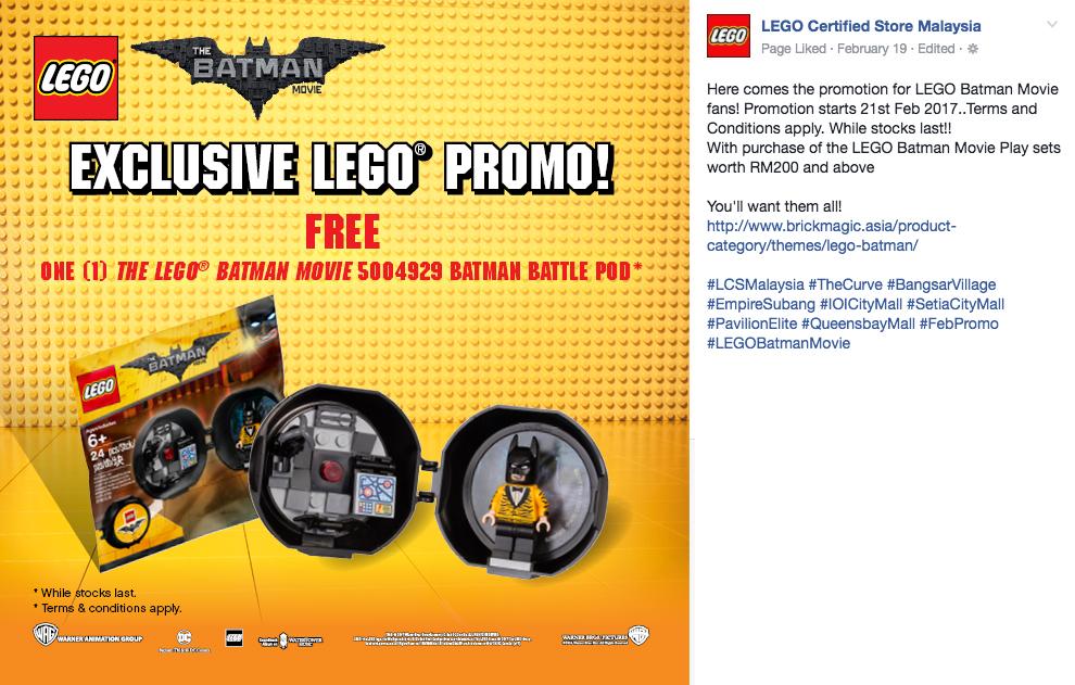 Batman Battle Pod Polybag Lego Batman Movie Lego 5004929 Promo