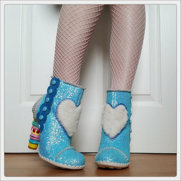 wearing Irregular Choice Bee Delicious macaron heeled boots