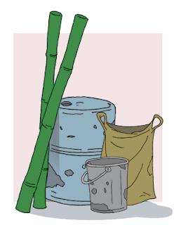 Beberapa drum kosong, bilah-bilah bambu, karung plastik www.simplenews.me
