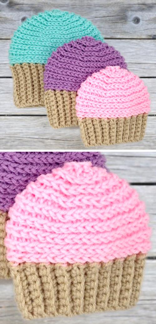 Cupcake Beanie Hat - Free Crochet Pattern