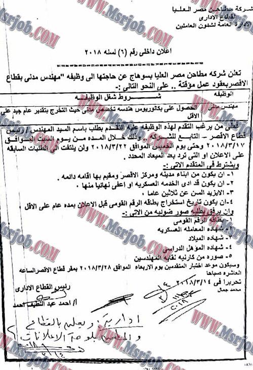 وظائف شركة مطاحن مصر العليا - اعلان داخلى رقم 6 لسنة 2018