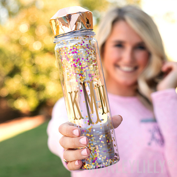 monogram confetti water bottle in pink