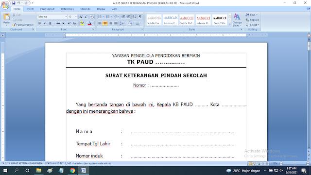 Download Contoh Surat Keterangan Pindah Sekolah Paud TK KB RA