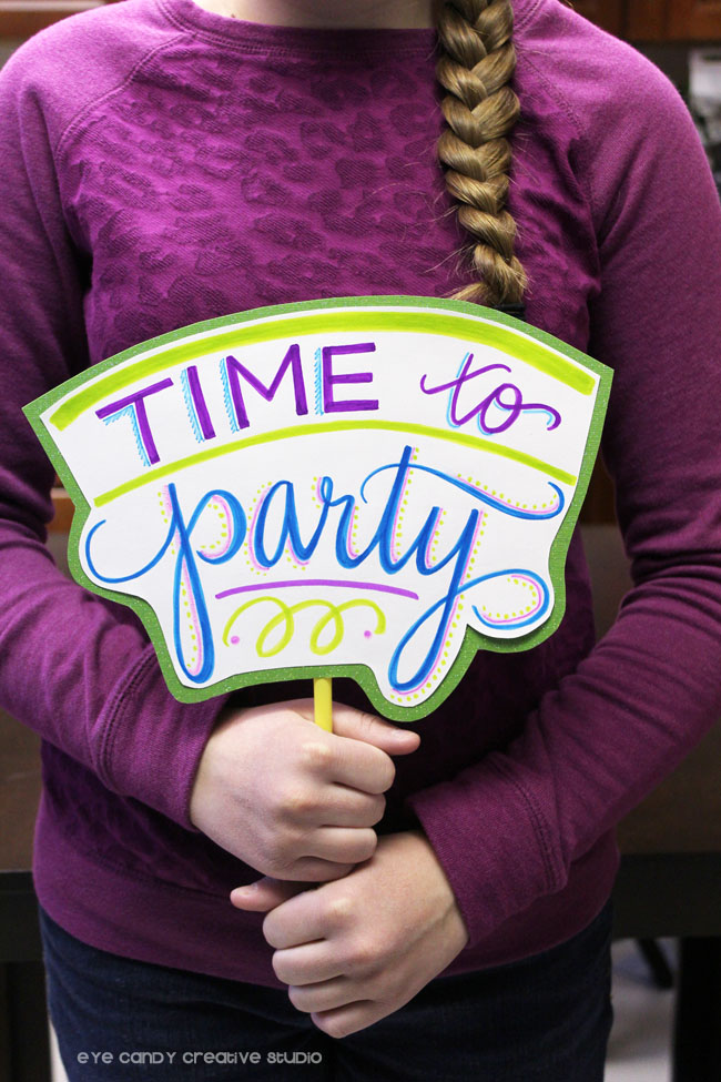 time to party photo booth prop, how to make your own photo props