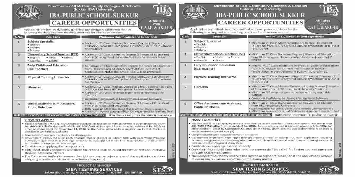 IBA Sukkur Announced Teaching Jobs 2020 as ECE/EST, Physical Training Instructor and more