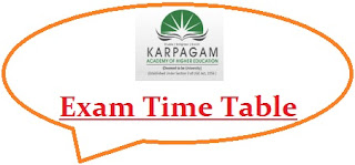 Karpagam University Exam Date Sheet 2020
