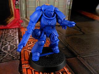 An Intercessor Space Marine Sergeant from Warhammer 40,000: First Strike.