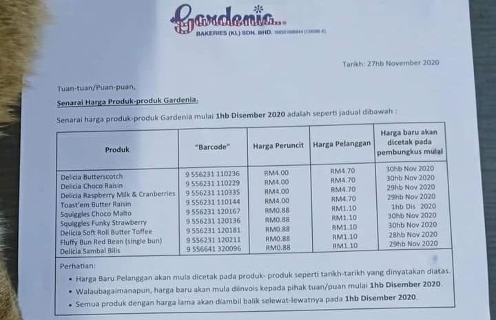 roti gardenia naik harga