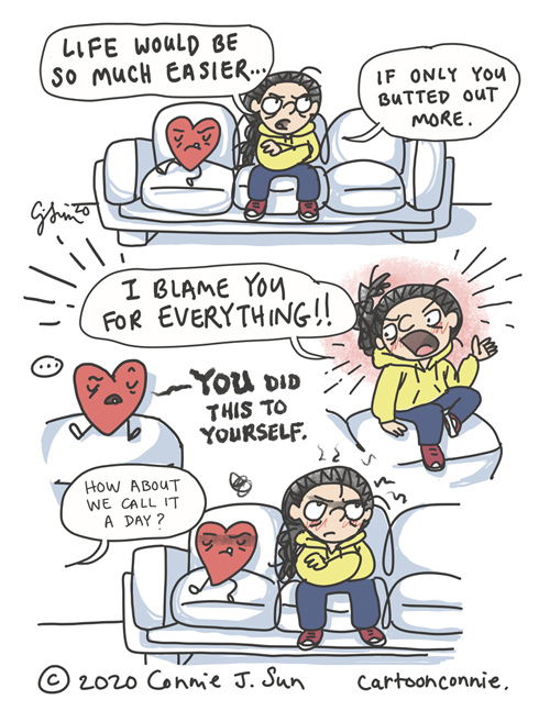 Cartoon illustration about emotional, getting therapy and prioritizing mental health wellness. Image of a woman and her heart sitting on a couch. Drawing by Connie Sun, cartoonconnie