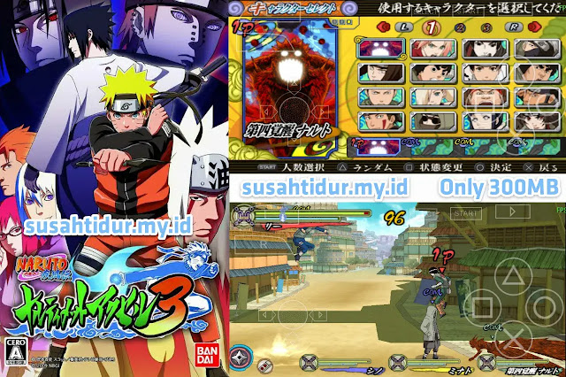 Naruto Accel 3 PPSSPP ukuran kecil 300MB Save Data