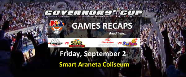 List of PBA Games Friday September 2, 2016 @ Smart Araneta Coliseum