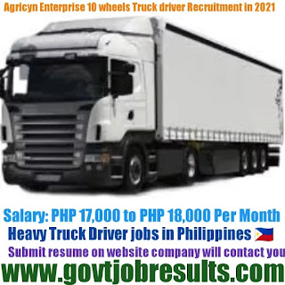 Agricyn Enterprise Heavy 10 Wheel Truck Driver Recruitment 2021-22