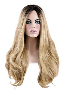 Bayan sarı uzun saç peruk