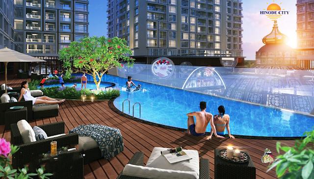 bể bơi ngoài trời tại Hinode City Minh Khai