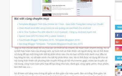 Thủ thuật chèn tiện ích bài viết liên quan (Related posts) vào giữa bài viết cho Blogspot