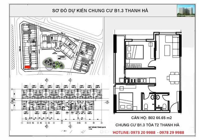 Sơ đồ mặt bằng chi tiết căn hộ B02 tòa T2 chung cư b1.3 Thanh Hà