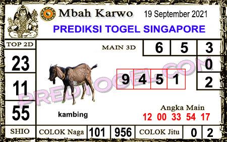 Prediksi Mbah Karwo Togel Singapura Minggu 19 September 2021
