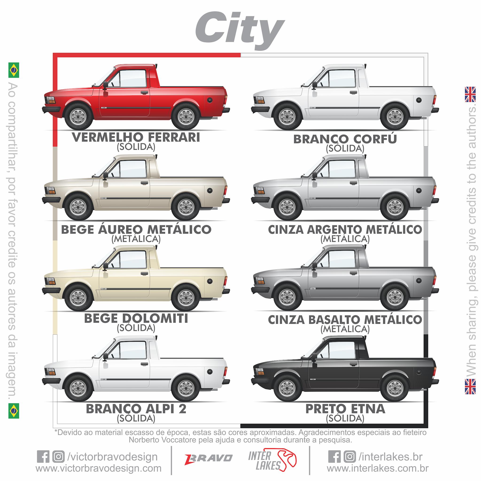 Imagem mostrando os desenhos com as cores do Fiat Pick-Up City 1982-1984 ; Vermelho Ferrari, Bege Áureo Metálico, Bege Dolomiti, Branco Alpi 2, Branco Dorfú, Cinza Argento Metálico, Cinza Basalto Metálico e Preto Etna