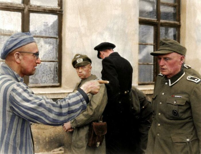 #29 Russian Inmate Points An Identifying And Accusing Finger At A Nazi Guard Who Was Especially Cruel Towards The Prisoners In Buchenwald Camp