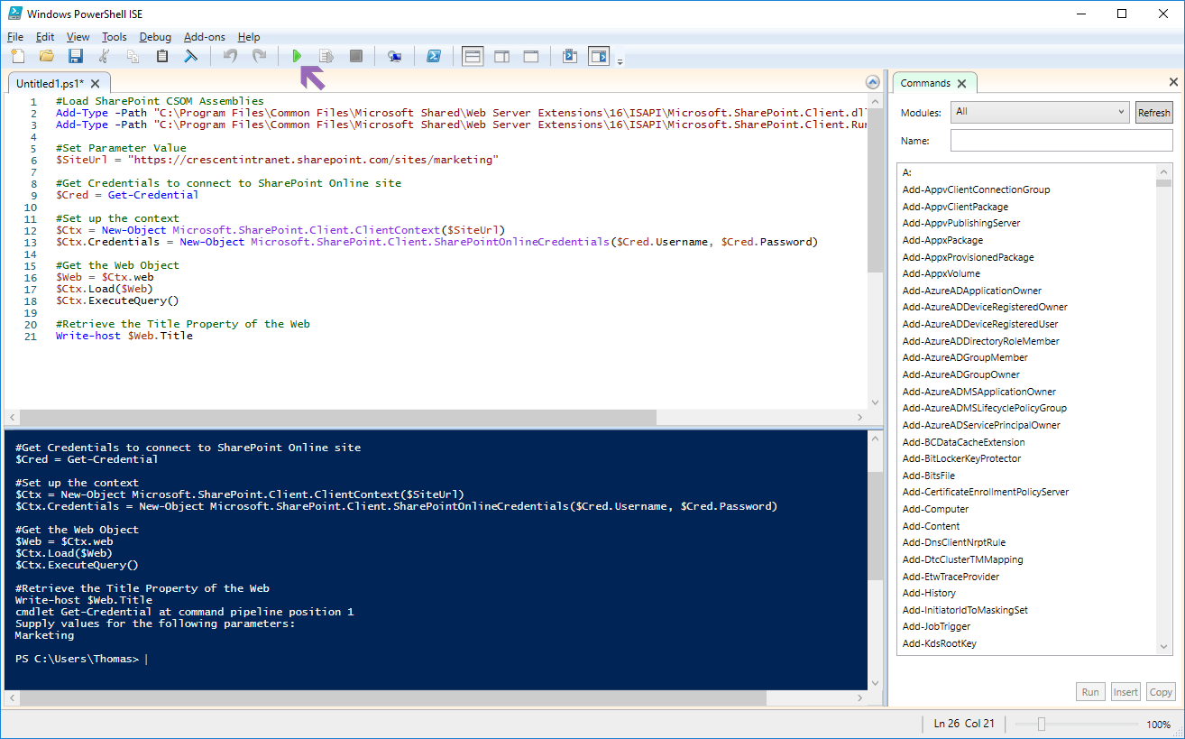 how to run a powershell script for sharepoint online