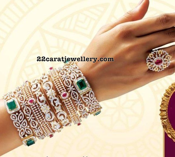 Set of Designer Diamond Bangles