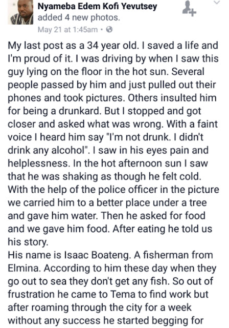 While others were busy taking pictures and throwing insults, I saved a life and I'm proud of it - Ghanaian Facebook user