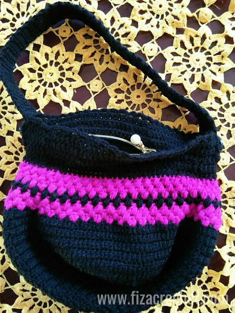 Beg kait gabungan warna hitam dan pink magenta