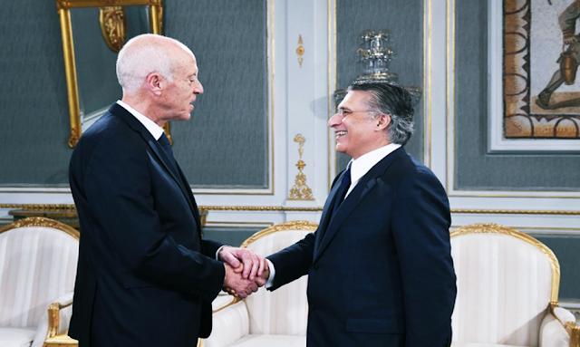 رئيس الجمهورية التونسية قيس سعيد يستقبل نبيل القروي رئيس حزب قلب تونس
