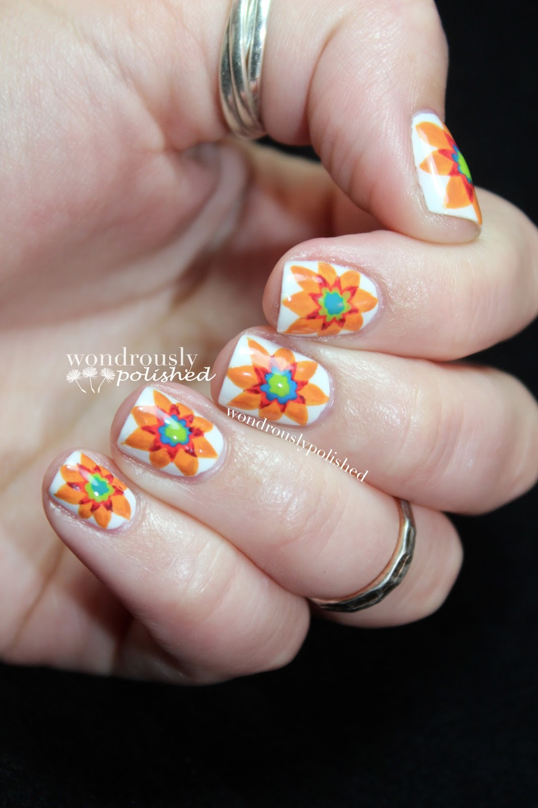 Wondrously Polished February Nail Art Challenge: Wondrously Polished: Majolica Inspired Flowers
