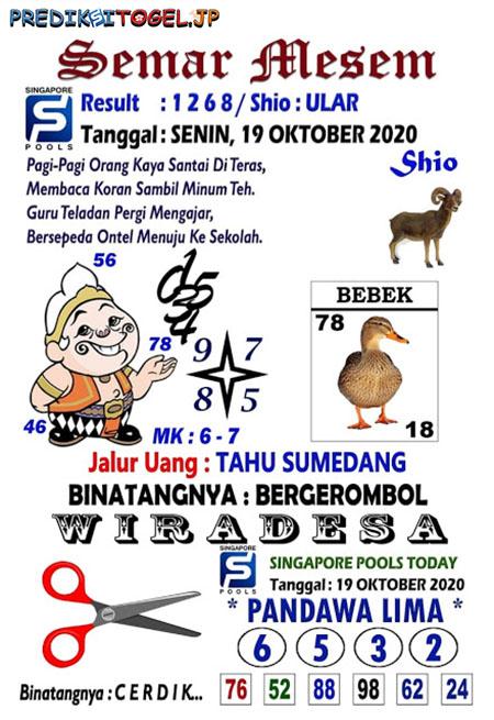 Syair Semar Mesem SGP Senin 19 Oktober 2020