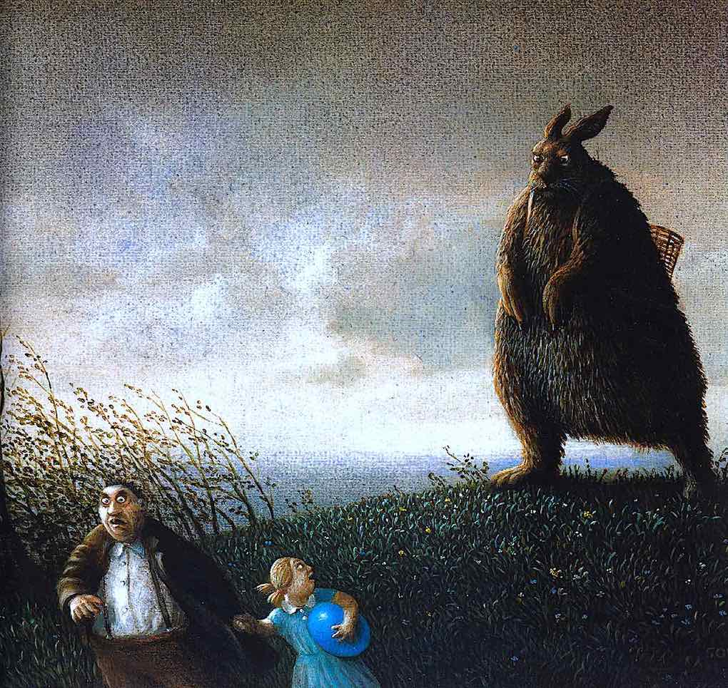 a Michael Sowa image of a giant angry Easter bunny