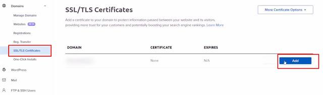 Add SSL certificate from dashboard