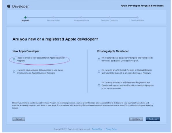 apple developer certificate distribute apps programs ios