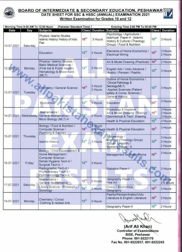 bise peshawar date sheet 10th & 12th 2021 annual exam