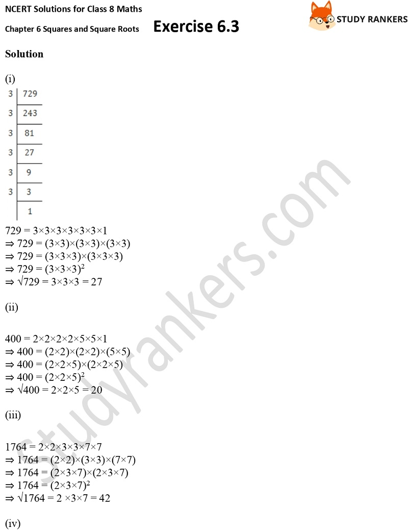 NCERT Solutions for Class 8 Maths Ch 6 Squares and Square Roots Exercise 6.3 3