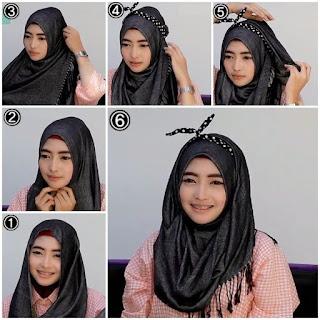 Tutorial Jilbab Pashmina Wajah Bulat