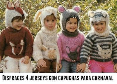 Disfraces jerseys con capuchas-orejas infantiles tejidos de: gato, zorro, cordero, y raton