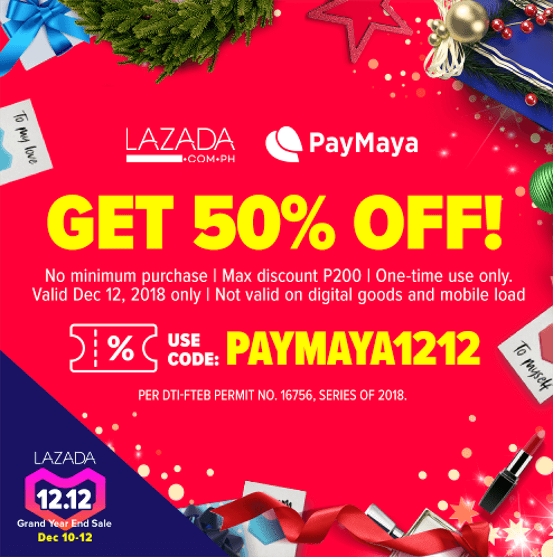 PayMaya offers cash backs and discounts for 12.12