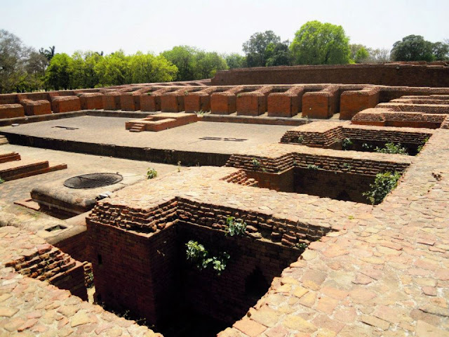 A view of the layout of a typical monastery in Nalanda