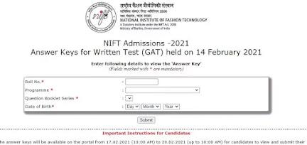 NIFT Exam Answer Key 2021