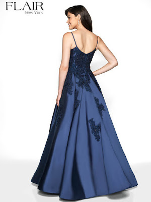 Lace Mikado Flair Prom Dress Navy Blue color