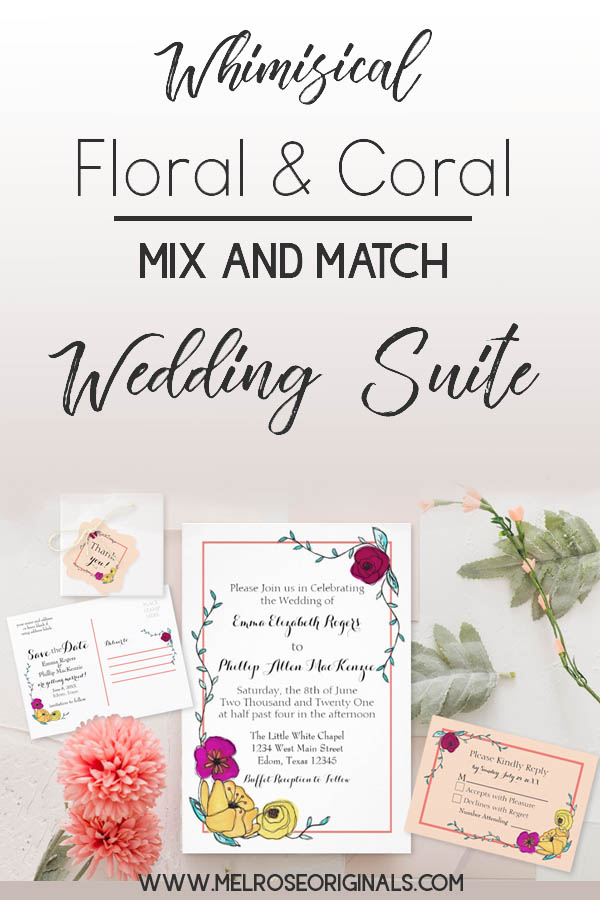 whimsical wedding suite featuring hand painted florals and solids and stripes in a coral color scheme