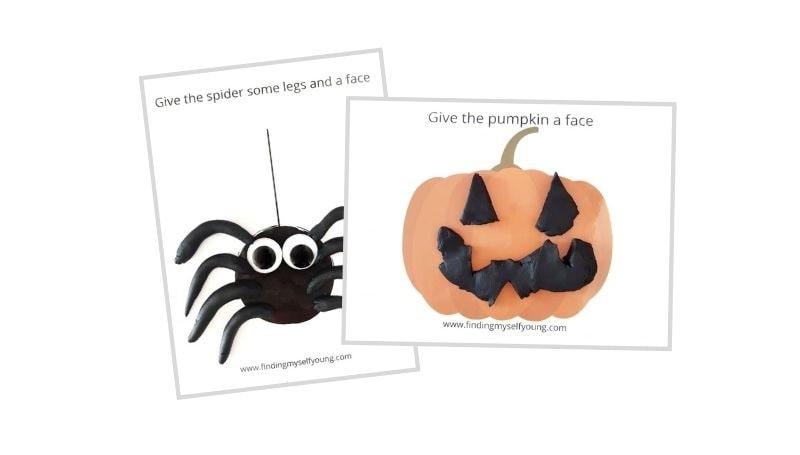 free halloween pumpkin and spider playdough mats
