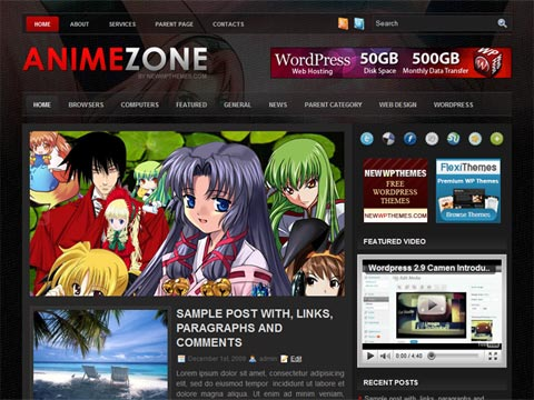 Anime Zone Wordpress Themes
