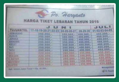 HARGA TIKET LEBARAN TAHUN 2016 BUS HARYANTO
