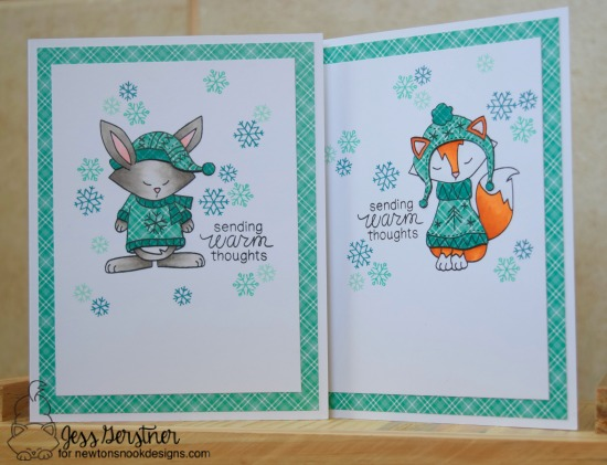 Bunny and Fox in Sweaters Card Set by Jess Gerstner | Sweater Weather Stamp Set by Newton's Nook Designs #newtonsnook