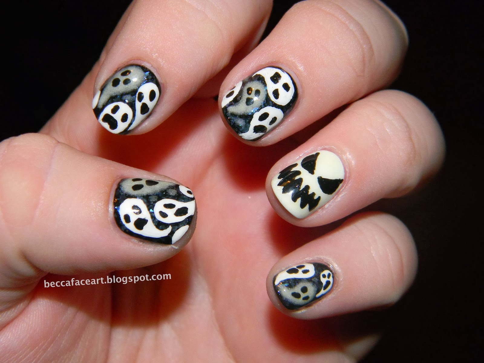 Becca Face Nail Art: Halloween Ghostie Nails!