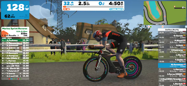 Dr. Aaronson biking on Zwift: now at level 45