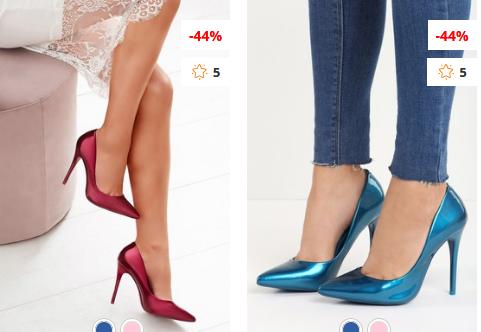 Pantofi stiletto eleganti de ocazii ieftini moderni Fucsia, albastri