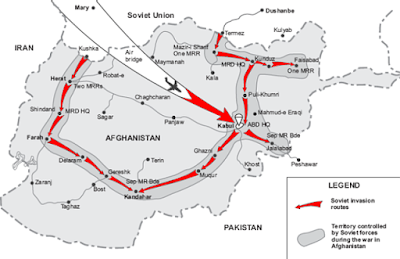 Soviet Union invasion of Afghanistan map